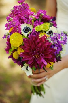 Beautiful and bright flowers add a range of texture to this bouquet.