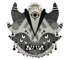 "Demon Series - Camille Chew laser-cut woodblock and gold, 11""x15"", 2013 http://camillechew.com/Demon-Series"