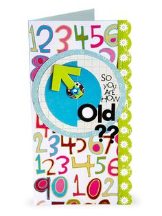 """Birthday Cards for Him """"How Old?"""" Birthday Card:   A starry eyelet serves as a spinner on this clever birthday card. Top cardstock with patterned paper. Layer circles and end with a chipboard arrow attached with the eyelet. Use letter stickers or rub-ons to spell out your whimsical inquiry."""