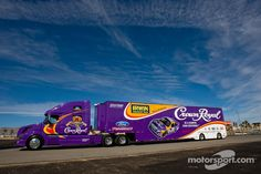 The Crown Royal team hauler makes its way into the Las Vegas Motor Speedway