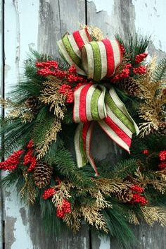 Christmas Wreath, Pine, Gold Cedar, Red Berries, Striped Ribbon