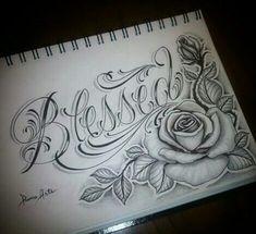 Blessed - Tattoo vorlagen - Tattoo Designs For Women Dope Tattoos, Pretty Tattoos, Beautiful Tattoos, Body Art Tattoos, Tattoo Drawings, New Tattoos, Tatoos, Chicano Tattoos, Cross Tattoos