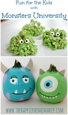Love the googly eyes rice krispie treats!!  Cute Snack and craft inspired by #MonstersU #spon