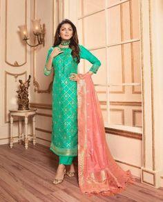 Lt Fabrics Vol 144 Silk Jacquard With Embroidery Partywear Suit 44003 Pakistani Wedding Outfits, Pakistani Dresses, Kurti Designs Party Wear, Dress Designs, Silk Dupatta, Ethnic Dress, Festival Outfits, Fashion Pants, Chic Outfits