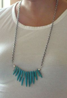 "sea & sky spikes necklace II-turquoise howlite and kyanite spiikes.  32"" with lobster claw to shorten the length if desired."