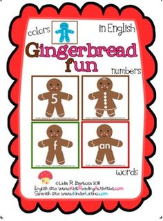 Gingerbread Fun (English Activities)This FREE item includes these 3 fun center activities:1- Matching quantity to numerals (1-10)2- Mak...