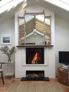 Kernow Fires Stuv Micro Mega, wood burning stove installation in Cornwall. Stove Installation, Wood, Wood Burning Oven, Home, Fireplace Surrounds, Modern House, Stove, Rustic House, Diy Fireplace
