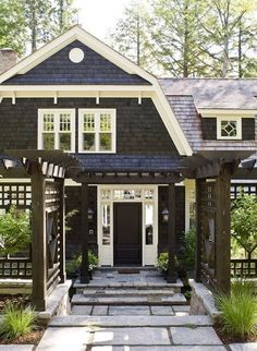 I love how the cedar shakes on the gambrel roof are broken up by white trim and sloping of the facade. It really give this Dutch Colonial dimension. Love the windows on the gambrel roof. Future House, Design Exterior, Black Exterior, Exterior Paint, Exterior Colors, Plans Architecture, Gambrel Roof, Gambrel Barn, House Elevation