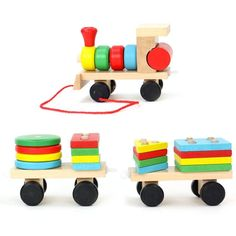 Colorful Wood Geometric Blocks Diecasts Early Educational Toy Vehicles Train Model Gifts Toys for Children Boys