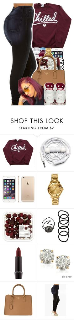 """kickin back // mila j"" by yeauxbriana ❤ liked on Polyvore featuring Urbanears, Versus, Wet Seal, MAC Cosmetics, Auriya and Prada"