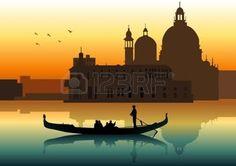 romantic: Silhouette illustration of people on gondola in Venice