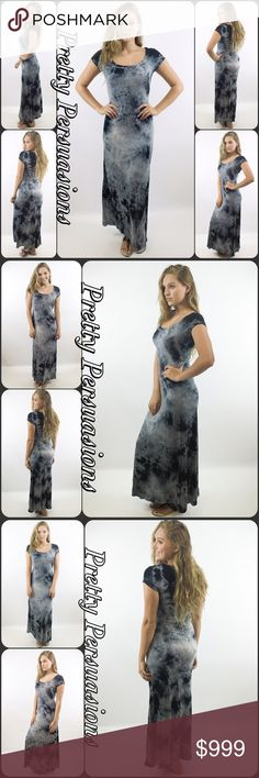 "Coming Soon NWT Tie Dyed Scoop Neck Maxi Dress  Available in sizes S, M, L Measurements taken from a size small  Length: 57"" Bust: 38"" Waist: 38"" Measurements taken unstretched   Features  • all over tie dye • scooped neckline  • short sleeves • soft, breathable material  • has stretch  Color: Black Mist Combo Rayon, Spandex  Made in the USA  Bundle discounts available  No pp or trades   Item # 1/2PP02250440BTDD black white gray tie dye maxi shirt dress Pretty Persuasions Dresses Maxi"