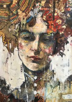 "Limited Edition Mixed Media/Embellished print /Original mixed media Print on canvas/18x24/ with gold and textile ""Greta"""