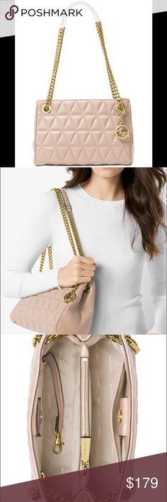 "MK Cashew Leather Scarlett Medium Messenger Bag Michael Kors Cashew Leather Scarlett Medium Messenger Bag 10.5""L x 7""H x 4.75""W, new with tag Michael Kors Bags Shoulder Bags"