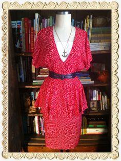Vintage 1980s Pretty Polka Dot Peplum Dress. $34.00 www.beelovelyvintage.com