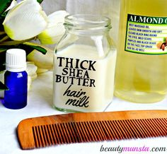 [ Hair Care Ideas : You gotta try this shea butter hair milk recipe for soft, silky and manageable tresses! Doesn't it look good enough to slurp Home Beauty Tips, Natural Beauty Tips, Natural Hair Care, Natural Hair Styles, Beauty Hacks, Diy Beauty, Natural Shampoo, Clean Beauty, Organic Beauty