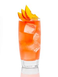 "X-Rated Fusion Liqueur's ""Summer Peach"" - X-Rated Fusion, Peach Tea, and a peach slice for garnish."