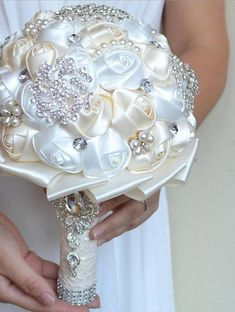 """HOT PRICES FROM ALI - Buy """"Kyunovia Best Price White Ivory Brooch Bouquet Wedding Bouquet de mariage Wedding Bouquets Pearl Flowers buque de noiva from category """"Weddings & Events"""" for only USD. Crystal Bouquet, Wedding Brooch Bouquets, Flower Bouquet Wedding, Crystal Brooch, Beaded Brooch, Pearl Bouquet, Boquet, Broch Bouquet, Crystal Rhinestone"""