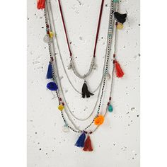 Forever 21 Layered Chain Beaded Tassel Necklace $11