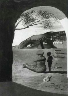 "SALVADOR DALI ""The Mysterious Lips that Appeared on the Back of my Nurse"" (1941)"