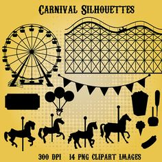 Carnival Silhouettes 14 png 300dpi clipart Instant by SquidInkShop, $3.99