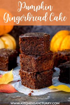 Pumpkin Gingerbread Cake with Sticky Whisky Glaze – this is bonfire night all wrapped up in one bite! Eat cold or serve warm with custard. #pumpkin #gingerbread #cakerecipe #pumpkingingerbreadcake #whiskyglaze #gingerbreadcakewithpumpkin Fall Dessert Recipes, Easy No Bake Desserts, Fall Desserts, Great Desserts, Delicious Desserts, Fall Recipes, Dinner Recipes, Pumpkin Roll Cake, Pumpkin Dessert