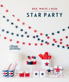 Cricut Explore Giveaway + Party Collection Red, White, + Blue Star Party by The TomKat Studio Fourth Of July Decor, 4th Of July Celebration, 4th Of July Decorations, 4th Of July Party, July 4th, Patriotic Crafts, Patriotic Party, July Crafts, July Birthday