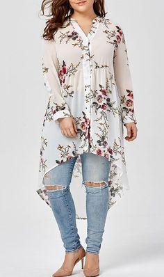 Chiffon Floral Plus Size Top Plus size women fasion moda dress clothe Swimwear Tops Bottoms Plus Size Blouses, Plus Size Tops, Plus Size Dresses, Plus Size Outfits, Plus Size Women, Club Dresses, Fall Dresses, Plus Size Clothing, Summer Dresses