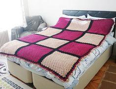 80 x 70 Large Granny Square blanket afghan hand by NesrinArt