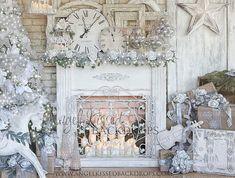 Elegant Christmas Fireplace Mantle with White Decor