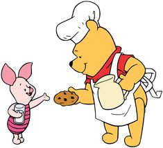 Clip art of Winnie the Pooh offering Piglet a freshly baked chocolate chip cookie: yum!
