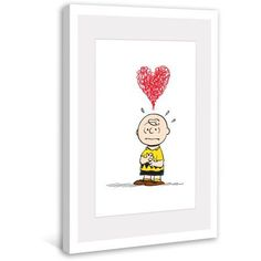 Marmont Hill Charlie Brown Red Heart Peanuts Framed Art Print, Size: 16 inch x 24 inch, Multicolor