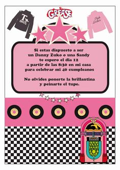 438 diy 1950s pink chevy party invitation or by lilrbwkreations blog sobre celebraciones y fiestas temticas grease partypradobirthday stopboris Choice Image