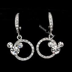 Clear Rhinestone Crystal Mickey Mouse Dangle Earrings