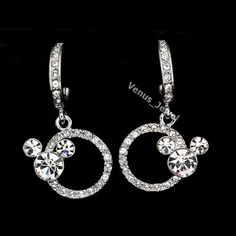 Clear Rhinestone Crystal Mickey Mouse Dangle Earrings