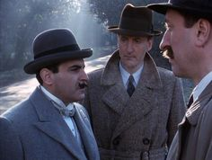 The Kidnapped Prime Minister: Poirot (David Suchet), Hastings (High Fraser) and Japp (Philip Jackson)