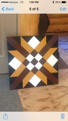 This was so much fun! All you need is paint a piece of wood some tape and your imagination. Barn Quilt Designs, Barn Quilt Patterns, Quilting Designs, Star Quilts, Quilt Blocks, 2x4 Crafts, Painted Barn Quilts, Farm Quilt, Barn Signs