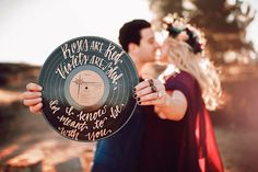 vintage vinyl record with calligraphy quote for engagement session