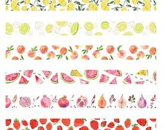 Set of Pretty Fruits, Washi Tape Collection, Printable Planner Stickers, Journal Stickers, Scrapbook Stickers, Scrapbook Paper, Tumblr Stickers, Cute Stickers, Wash Tape, Washi Tape Planner, Bookmarks Kids