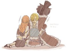 One Piece, Straw Hat Pirates. Sanji, Nami, Chopper and Brook aw the feels