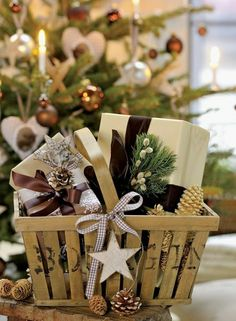 Pretty basket with ribbon and ornament with well-wrapped gifts inside