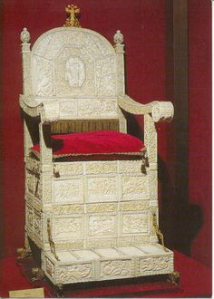 "Ivory Bizantien throne  of Russia , from Constantinople - the throne Alexandra used during her and Tsar Nicholas' coronation (first was made for Tsar Ivan IV - aka ""Ivan the Terrible"")."