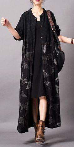Vintage Black Cotton Linen Long Wind Coat Women Spring Jacket - How To Be Trendy Fall Fashion Outfits, Look Fashion, Hijab Fashion, Chic Outfits, Fashion Dresses, Spring Outfits, Womens Fashion, Vintage Mode, Vintage Black