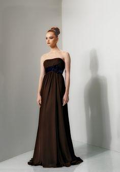 5d840e3a66 2012 Tempting Chocolate Chiffon Strapless Empire Waist Floor Length Flat  Dress  84.75 Damenmode Online Shop