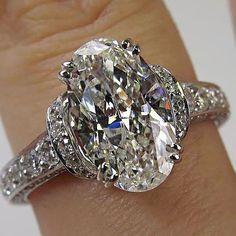 3.71ct estate vintage oval diamond engagement wedding ring egl usa ... #weddingring