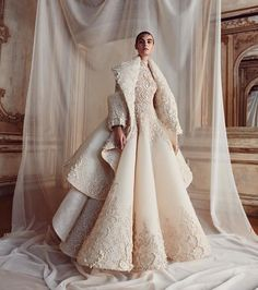 Ashi Studio fall winter 2019 For a true snow queen! 😯❄☃️❄ Bridal long sleeves high neck full embellishment glamorous a line wedding dress with jacket sweep train mv -- Ashi Studio Fall/Winter Couture Collection Couture Dresses, Bridal Dresses, Fashion Dresses, Couture Wedding Gowns, Dress Dior, Boho Vintage, Mode Editorials, Couture Collection, Bridal Collection
