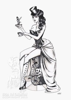 Circus pinup original ink drawing by Isobelvonfinklestein on Etsy, $100.00