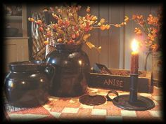 lovely jugs, beautiful fall colored flowers, and a grubby candle★
