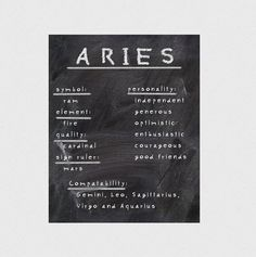 Typographic print Aries print Instant download by hedehede on Etsy
