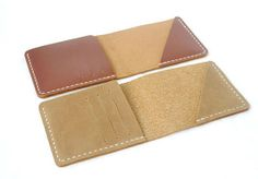 Hand-stitched Leather Wallet, Card Case, Billfold, Slim Wallet, Simple Wallet